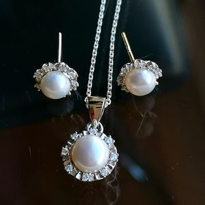 NWT Sterling Silver genuine pearl necklace earring